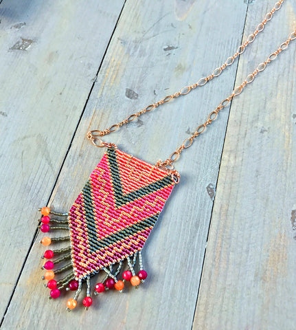 Hot Pink Gray and Rose Gold Tribal Tassel Necklace