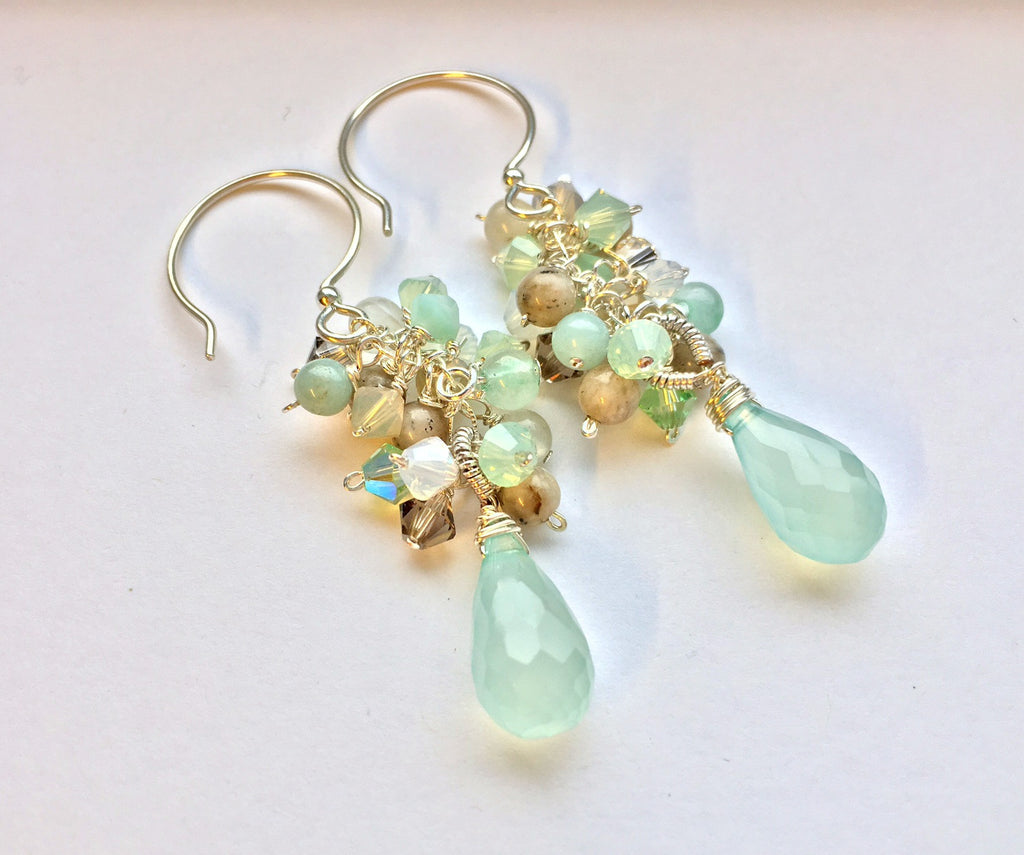 Mint Green Chalcedony and Gray Agate Cluster Teardrop Earrings