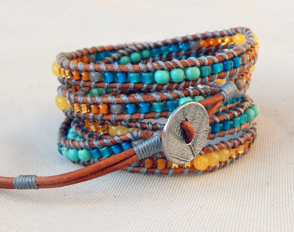 Wheat and Sky 5x wrap bracelet with Honey Jade and Turquoise Magnesite