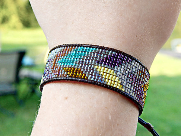 Brown Gray purple Chevron Loom Beaded Cuff Bracelet