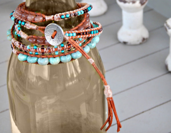 Aqua Amazonite and Tan Smoky Quartz 5x Macrame wrap bohemain bracelet