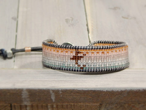 Custom Initial Loom Woven Bracelet Faded Rose Gold to Silver