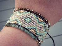 Pastel Tribal Beaded Cuff Loom Woven Bracelet