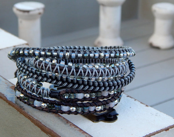 Gray and Silver Beaded Textured Macrame Leather Wrap Bracelet
