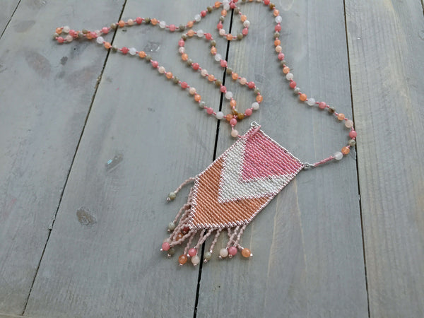 Coral and Peach Jade  Loom Woven Tassel Mala Necklace
