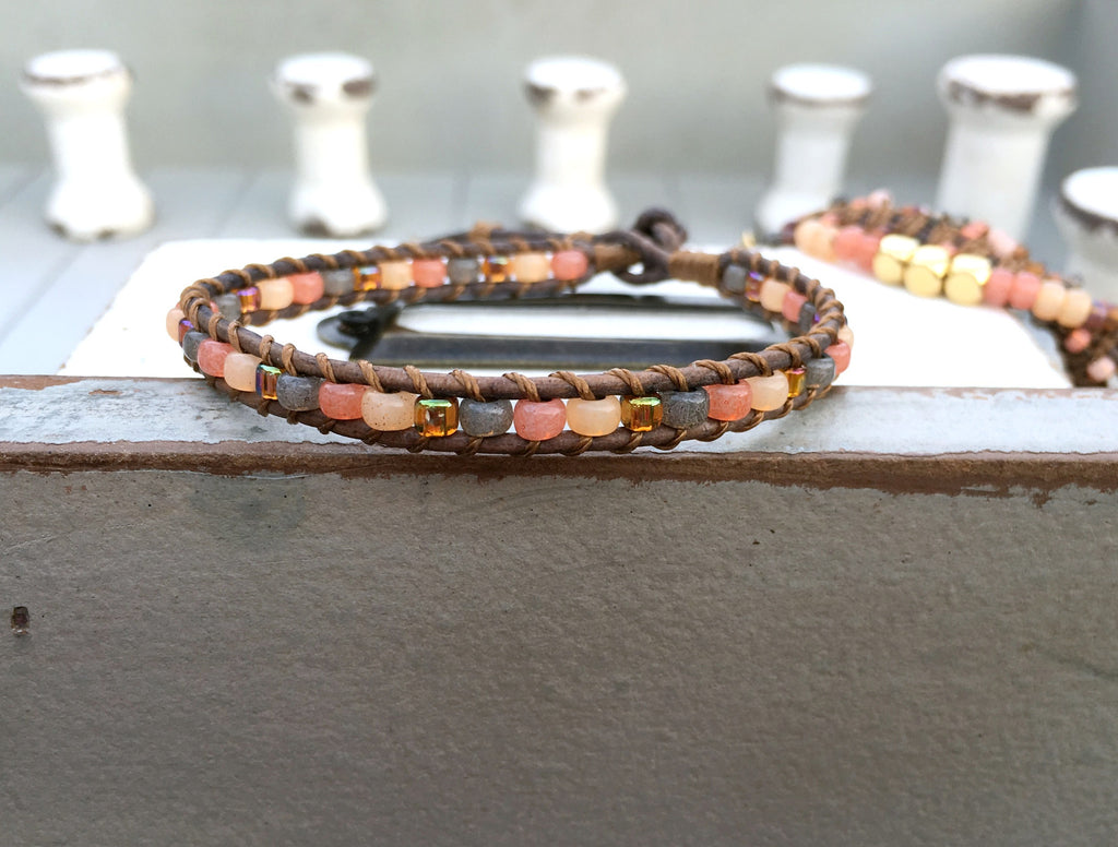 Coral Peach and Brown Ladder Weave Leather Bracelet