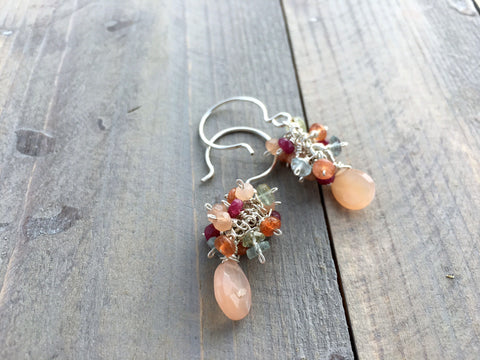 Peach Moonstone, Aquamarine, Ruby, and Sunstone Cluster Gemstone Earrings
