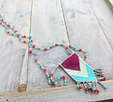 Pink Turquoise and Seafoam Mala Tassel Necklace with Pink Jade and Turquoise chain