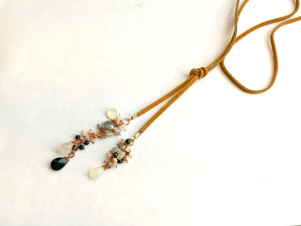 Navy, Gray, Blush and Copper Leather Lariat Necklace