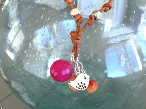 Pink and Peach Dove Charm Adjustable Leather Necklace