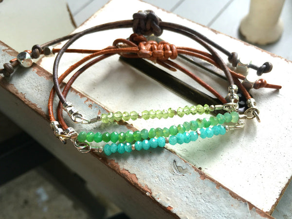 Peridot and Leather Gemstone Stack Bracelet
