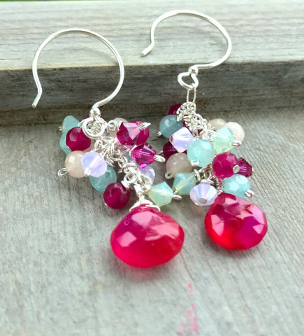 Hot Pink Chalcedony Seafoam Green Jade Cluster Earrings