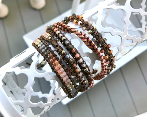 Faded Peach to Gray Beaded Macrame 5x Leather Wrap Bracelet