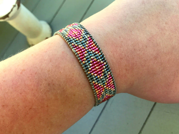 Pink Faded Tribal Diamond Bead Loom Woven Bracelet