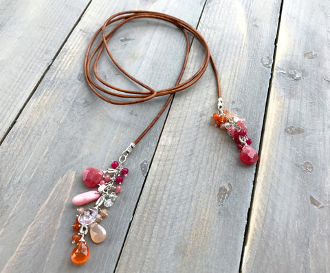 Orange and Pink Gemstone Leather Lariat Necklace