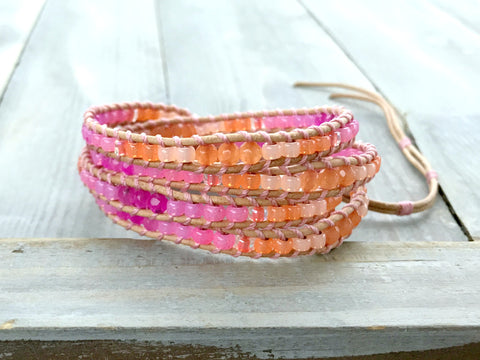 Pink Orange Ombre Jade accented Leather Wrap Bracelet