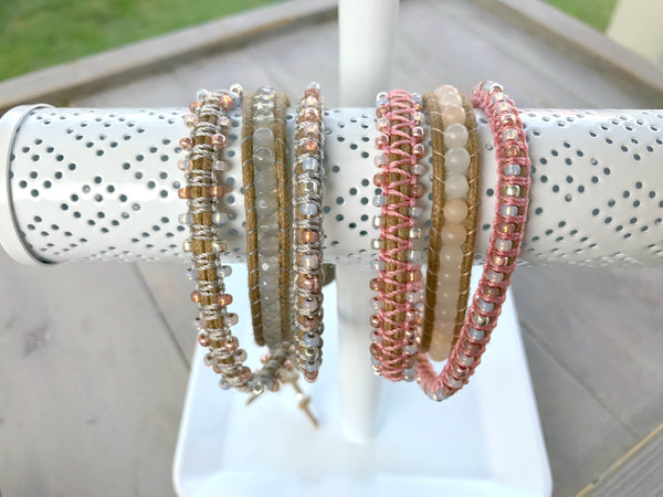 Faded Silver to Rose Gold Macrame Beaded Gemstone Wrap Bracelet