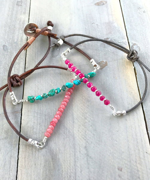 Simple Gemstone and Leather Stack Set: Pink Jade, Ruby, Turquoise Zen bracelet