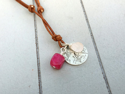 Rose Quartz and Pink Jade Bird Charm Adjustable Leather Necklace
