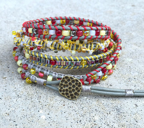 Customized for you Macrame Multi-textured 5x wrap bracelet
