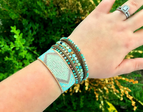 Seafoam Amazonite Macrame 3 Wrap Leather Wrap Bracelet