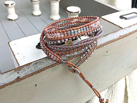 Silver Gray Blush Beaded Macrame 5x Leather Wrap Bracelet