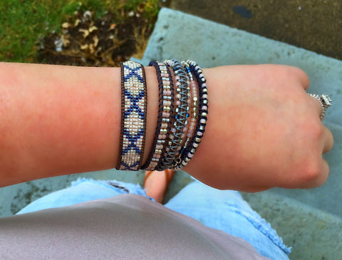 Tribal Loom Woven Beaded Friendship Bracelet in Navy and Blush