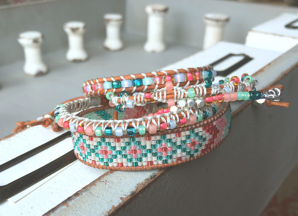 Chevron and Diamond Tribal beaded Loom Woven Bracelet