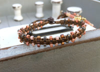 Coral Peach and Brown Side Macrame Leather boho Bracelet