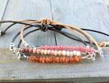 Peach and Pink Gemstone and Leather Stack Set: Pink Jade, Pink Opal, Sunstone Zen bracelet