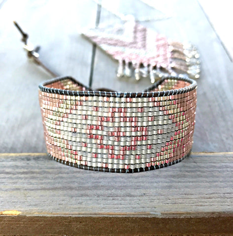 Silver and Rose Gold Tribal Chevron Beaded Loom Woven Bracelet