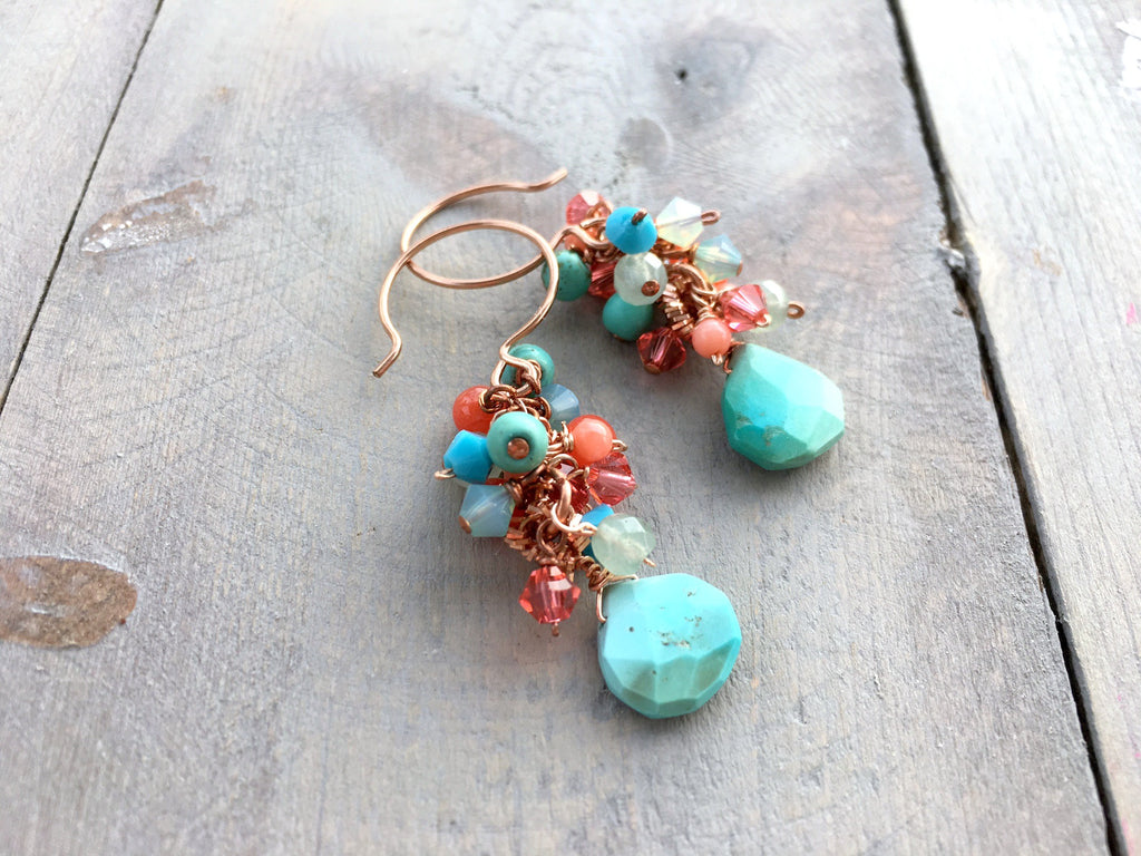 Turquoise and Coral Rose Gold Cluster Earrings