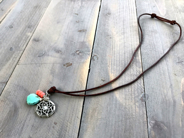Turquoise and Coral Dream Catcher Charm Adjustable Leather Neckalce