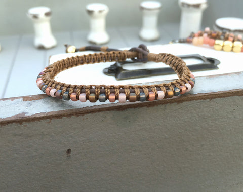 Coral Peach and Brown Top Macrame Leather boho Bracelet