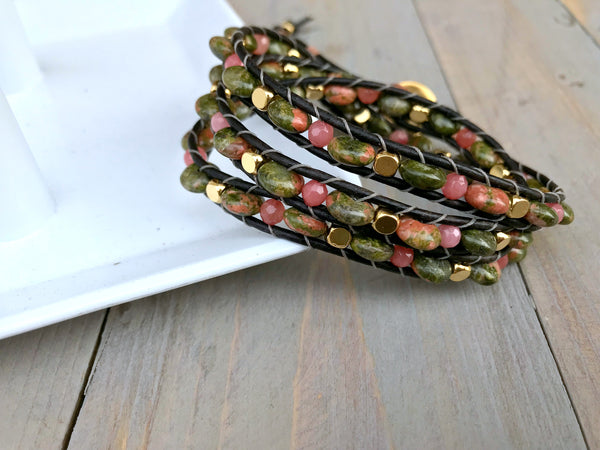 Unakite Coral Jade and Gold Ladder 3 Wrap Bracelet