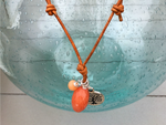 Coral and Peach Tree of Life Charm Adjustable Leather Necklace