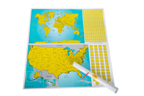 World and US Travel Tracker Map Set - Scratch Off Places You Visit!