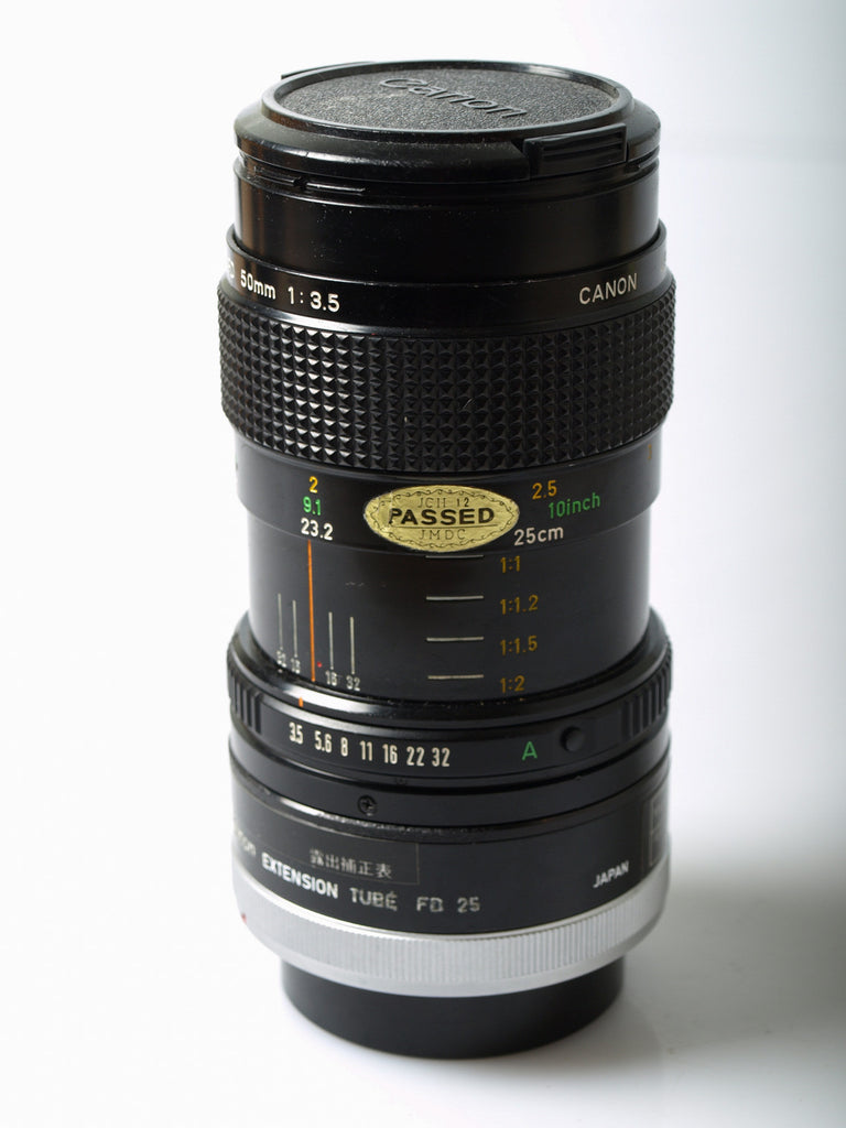 Canon nFD 50mm f/3.5 Macro + FD-25 Extension tube