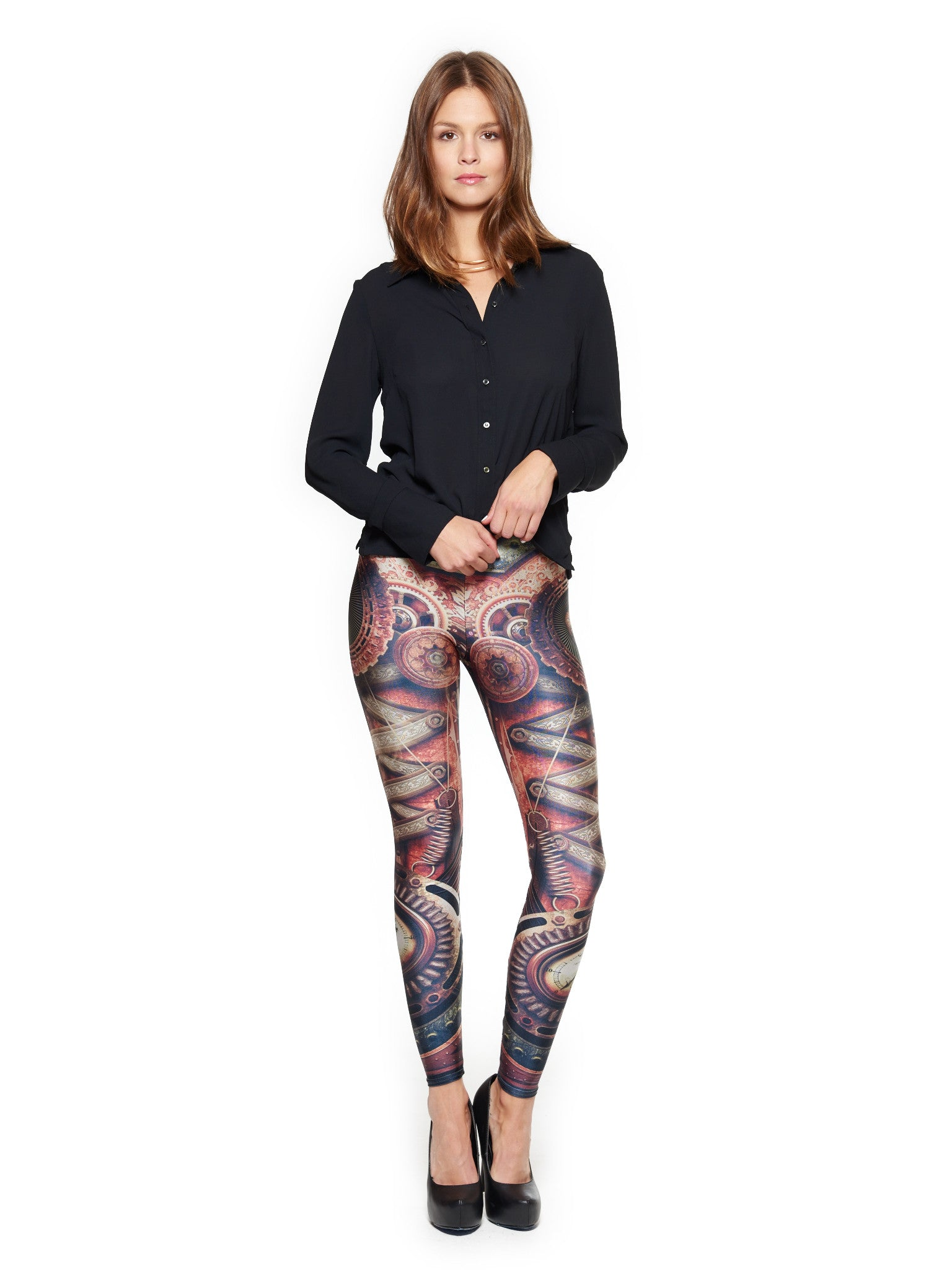 Steampunk Motherboard Queen West Leggings - Nuvango Gallery & Goods - 1