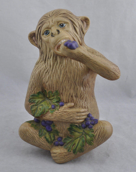 Estate Vintage Meissen Monkey Eating Grapes Ceramic Figurine 11""