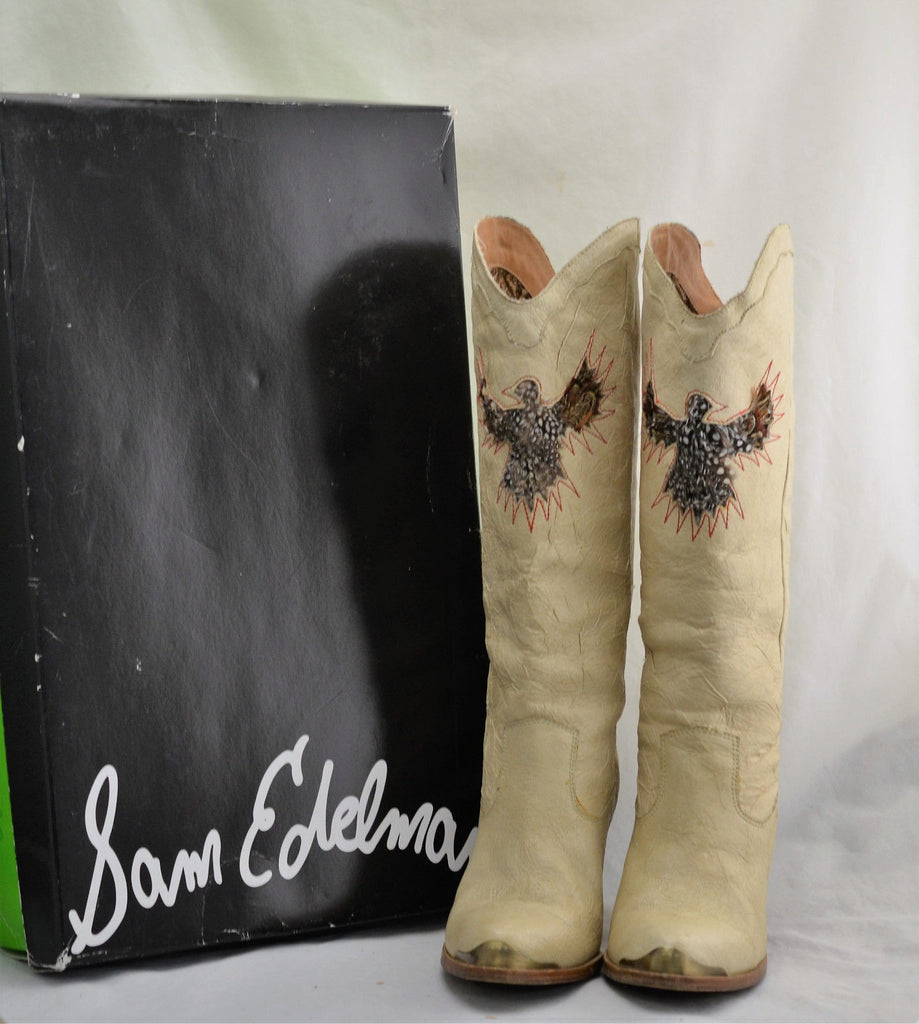 Sam Edelman Olive Ivory Crinkle Tan-05 Leather Cowboy Boots/SM Pumps Size 8.5