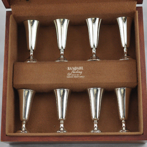 Randahl Sterling Cordial Cup Mid Century Silver .925 Set Of 8 With Wood Box