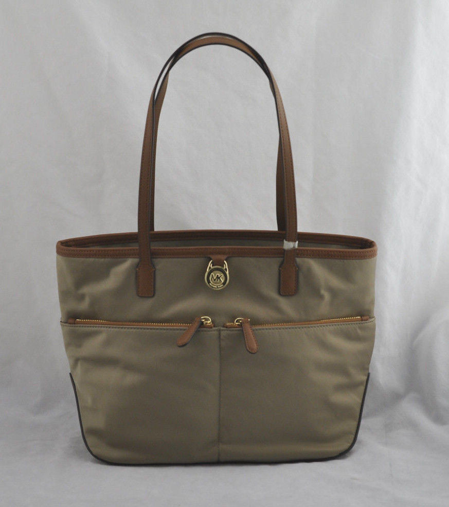 NWOT Authentic Michael Kors Kempton Dusk Tan Nylon Gold Accent Pocket Tote Purse