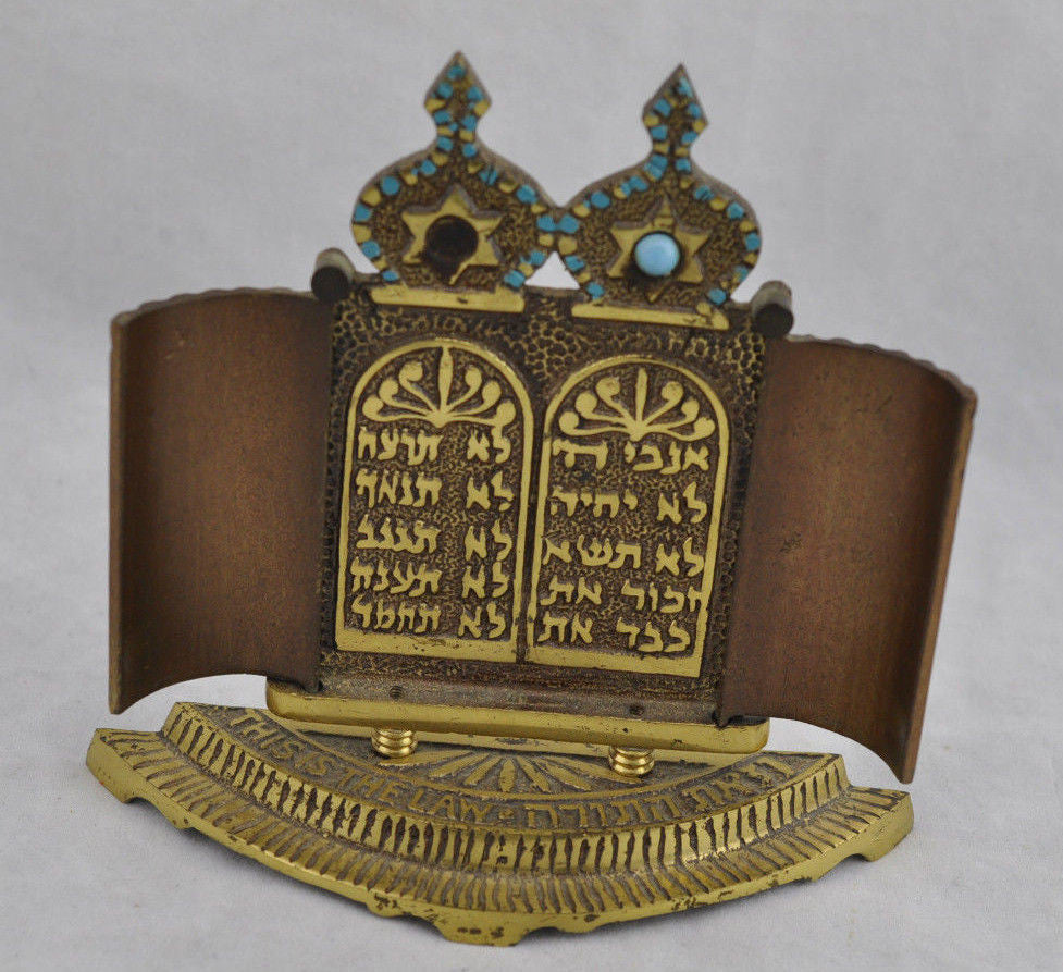 Vintage Judaica Decalogue 10 Commandment Brass & Turquoise Figurine