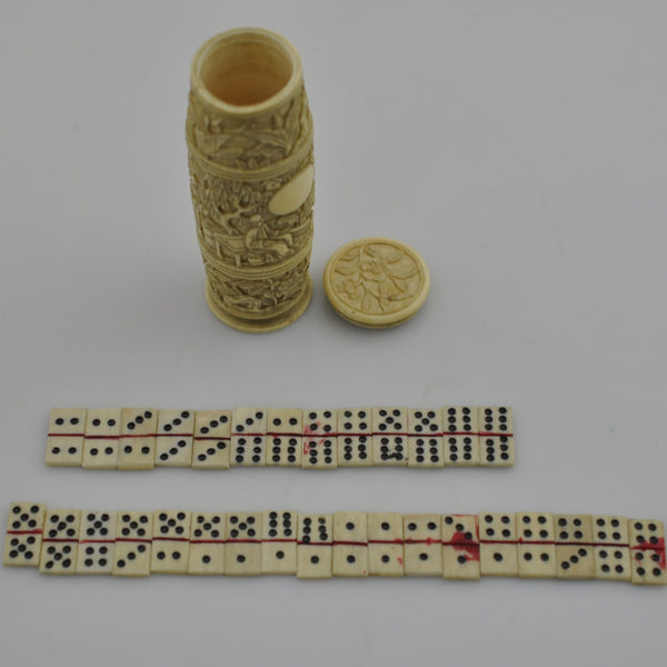 Antique Mini Oriental Domino Ivory Case Handmade 3.50""