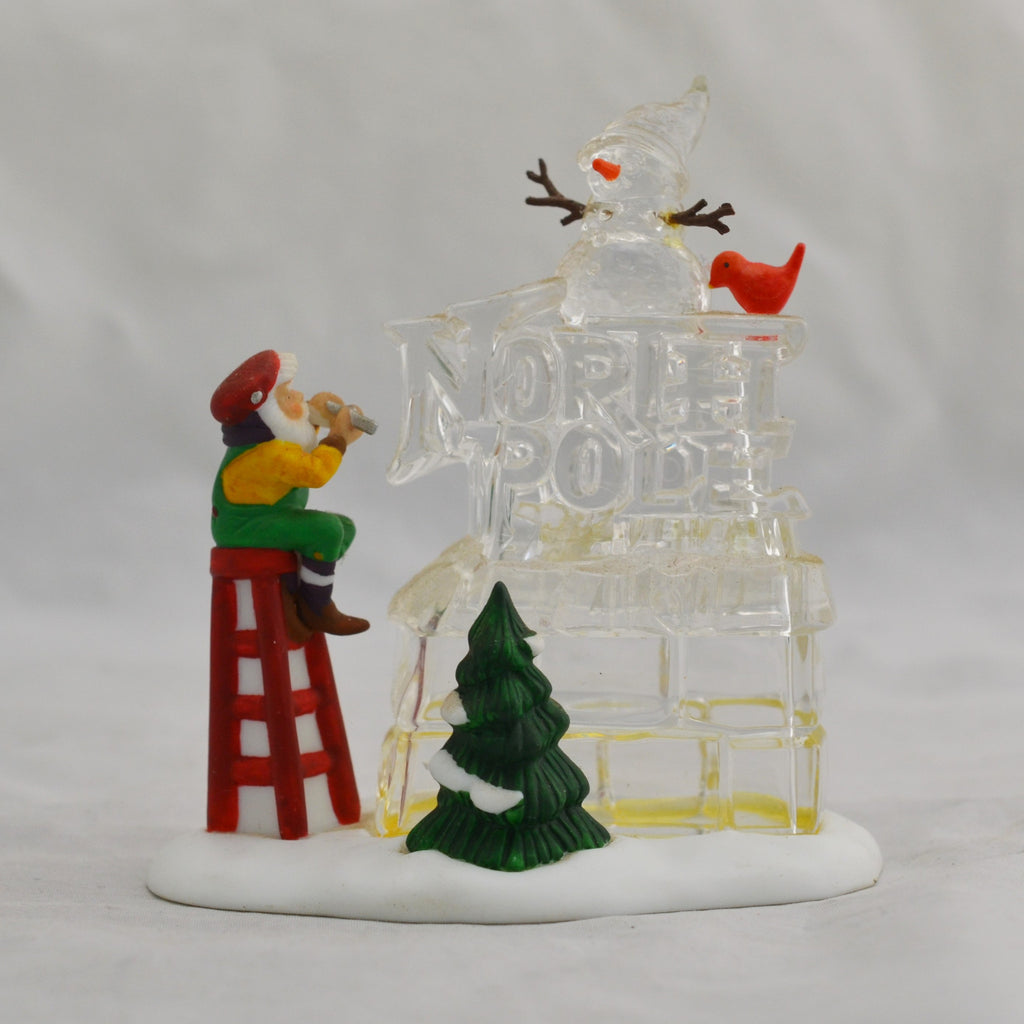 Heritage Village Collection A Busy Elf North Pole Sign 5636-6 Porcelain Figure