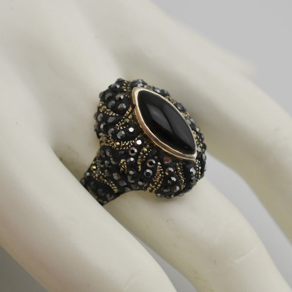 Almond Black Onyx Gray Marcasite 925 Sterling Silver Cocktail Band Ring