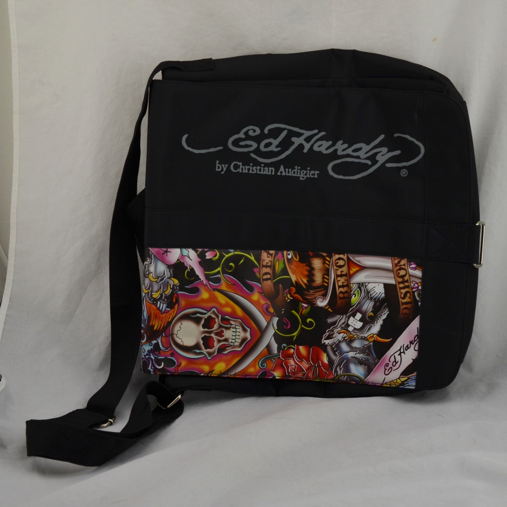 Ed Hardy by Christian Audigier Death before Dishonor Messenger Bag