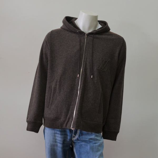 Louis Vuitton Brown Wool Cashmere Hooded Signature Men's Sweater Size XXL