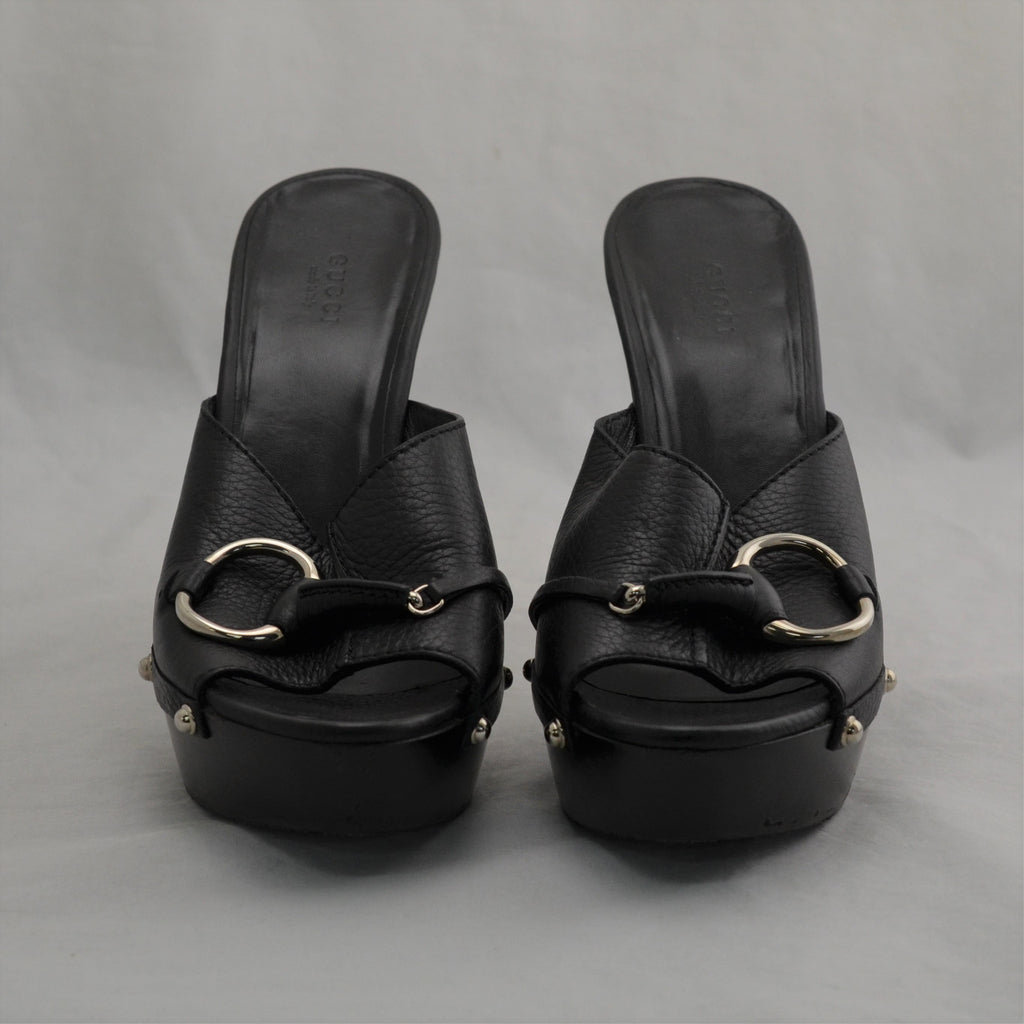 Gucci 234941 Black Leather Slip-On Platform Iron Bit 5'' Heels Sandals Size 9.5